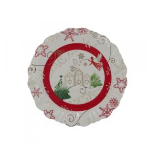 Wald piatto dolce panettone porcellana paesaggio di Natale con angeli