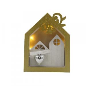 Wald casetta legno pendaglio illuminato paesaggio di Natale