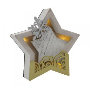 Wald stella di Natale quadretto illuminato oro argento