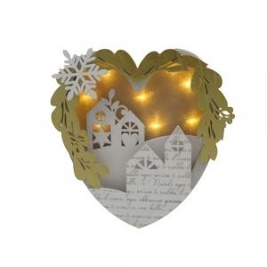 Wald quadretto cuore legno paesaggio di Natale con luce