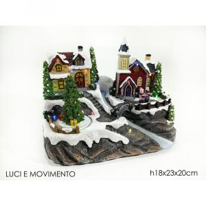 Paesaggio Natalizio Con Luci e Movimento h18x23x20 cm