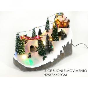 Paesaggio Natalizio Con Scritta Merry Christmas H25x36x22 cm con Luci e Movimento