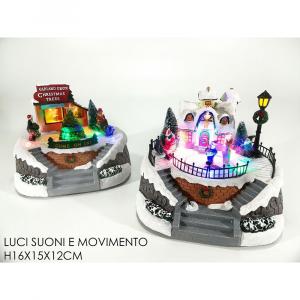 Ambientazione Natalizia Con Luci Suoni e Movimento H16x15x12 cm