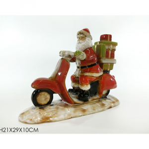 Babbo Natale In Ceramica Su Moto Rossa H21x29x10 cm
