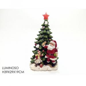 Albero Di Natale in Ceramica con Babbo Natale  H39x29x19cm Luminoso