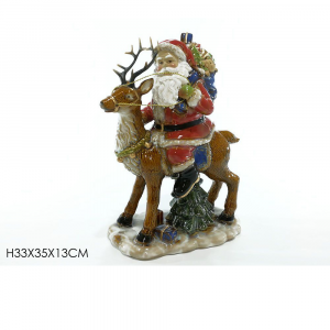 Babbo Su Renna In Ceramica H33x35X13 cm