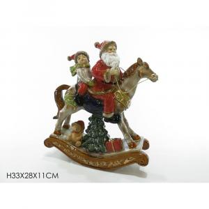 Babbo Su Cavallo con Bambino In Ceramica H33x28x11 cm