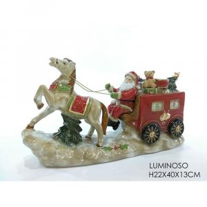 Babbo Natale In Ceramica Su Carretto con Cavallo H22x40x13 cm