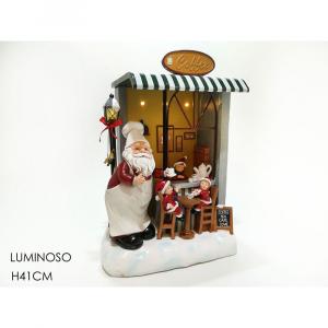 Ambientazione Caffè Babbo Natale Luminoso H41cm