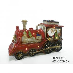 Locomotiva In Ceramica Rosso H21x35x14cm