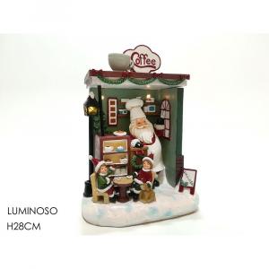 Decorazione Natalizia Caffè Babbo Natale con Luci  H28cm