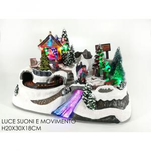 Ambientazione Natale Con Luci Multicolore Suoni E Movimento H20x30x18cm