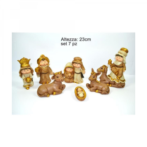 Due Esse Natività Decorata con 7 Personaggi da circa 23 cm Rifiniture in Oro