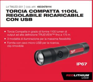 TORCIA COMPATTA REGOLABILE 1100LM USB