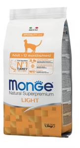 MONGE NATURAL SUPERPREMIUM GATTO LIGHT TACCHINO 1,5KG