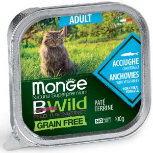 MONGE B-WILD GRAIN FREE - PATE' ADULT - ACCIUGHE CON ORTAGGI 100 GR