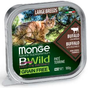 MONGE B-WILD GRAIN FREE - PATE' ALL LIFE STAGE - BUFALO CON ORTAGGI 100 GR