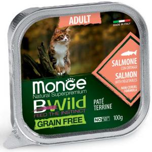 MONGE B-WILD GRAIN FREE - PATE' ADULT - SALMONE CON ORTAGGI 100 GR