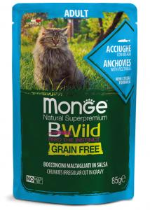 MONGE B-WILD GRAIN FREE - BOCCONCINI ADULT - ACCIUGHE CON ORTAGGI 85 GR