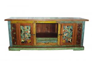 Credenza balinese dipinta a mano in legno di teak