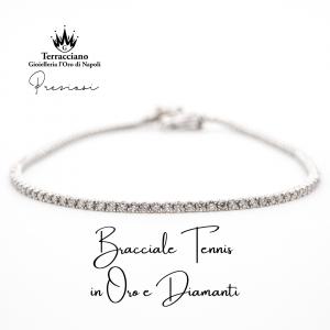 Bracciale Tennis in Oro Bianco e Diamanti