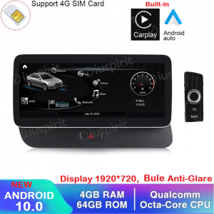 ANDROID navigatore per Audi Q5 2009-2017 10.25 pollici 4GB RAM 64GB ROM Octa-Core Car Play Android Auto Bluetooth GPS WI-FI