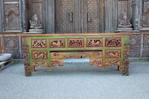 Consolle Balinese in legno di teak intagliato