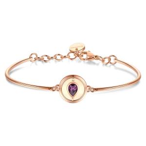 Brosway - Bracciale CHAKRA in acciaio, pvd oro rosa e cristallo Swarovski amethyst