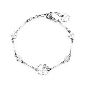 Brosway - Bracciale CHAKRA in acciaio con quadrifogli e cristalli crystal