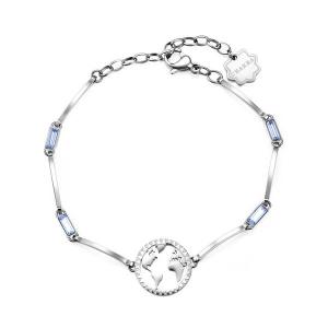 Brosway - Bracciale CHAKRA in acciaio con globo e cristalli light sapphire