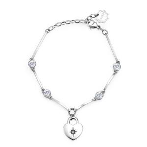 Brosway - Bracciale CHAKRA in acciaio con cuore e cristalli crystal
