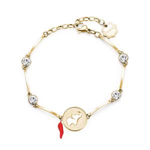 Brosway - Bracciale CHAKRA in acciaio, pvd oro, medaglietta elefante e cristalli crystal