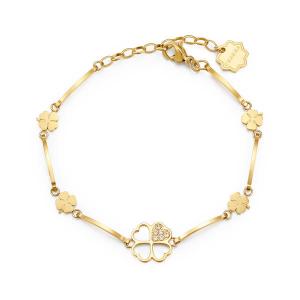 Brosway - Bracciale CHAKRA in acciaio, pvd oro con quadrifogli e cristalli crystal