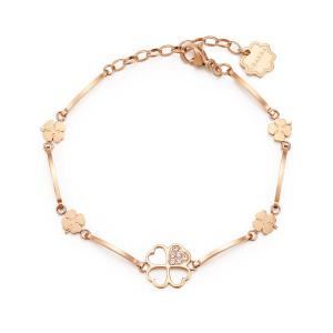 Brosway - Bracciale CHAKRA in acciaio, pvd oro rosa con quadrifogli e cristalli crystal