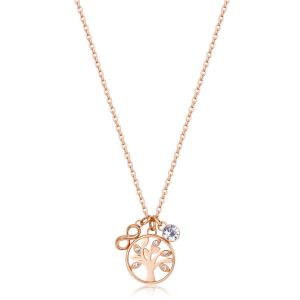 Collana CHAKRA della Brosway in acciaio, pvd oro rosa, medaglietta albero della vita e cristalli crystal