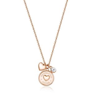 Collana CHAKRA della Brosway in acciaio, pvd oro rosa, medaglietta cuore e cristallo crystal