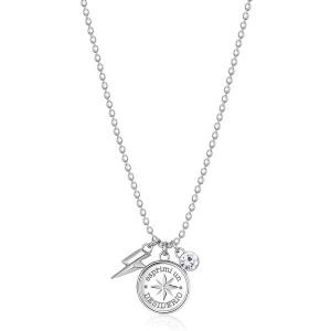 Collana CHAKRA della Brosway in acciaio, medaglietta rosa dei venti e cristallo crystal