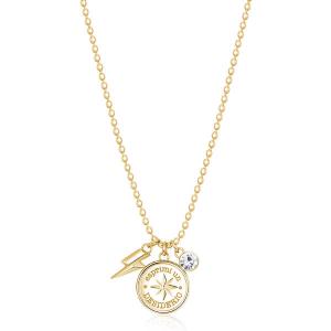 Collana CHAKRA della Brosway in acciaio, pvd oro, medaglietta rosa dei venti e cristallo crystal