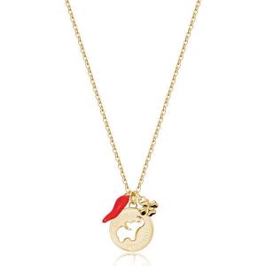 Collana CHAKRA della Brosway in acciaio, pvd oro, medaglietta elefante e cornetto