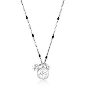 Collana CHAKRA della Brosway in acciaio, medaglietta infinito e cristalli crystal