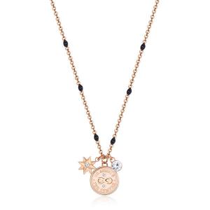Collana CHAKRA della Brosway in acciaio, pvd oro rosa, pendenti a forma di lucchetto, chiave e cristalli crystal