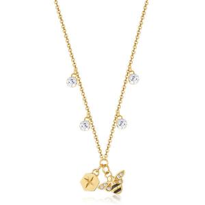 Collana CHAKRA della Brosway in acciaio,pvd oro, pendente a forma di ape e cristalli crystal