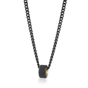 Collana Doha della Brosway in acciaio pvd nero satinato e pvd oro
