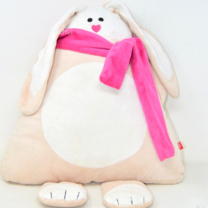 Cushion Rabbit Shape Triangular Beige With The Scarf Pink 34x36 Cm