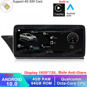 ANDROID navigatore per Audi A4 A5 S5/RS4/RS5/8K/B8/8T/4L 2008-2016 MMI 3G 10.25 pollici 4GB RAM 64GB ROM Octa-Core Car Play Android Auto Bluetooth GPS WI-FI