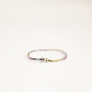 BRACCIALE TENNIS RODIO ZIRCONI MULTICOLOR