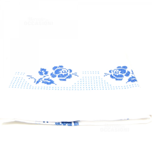 Tablecloth Hand Embroidered Point Cross Blue 140x120 Cm Made In Italy