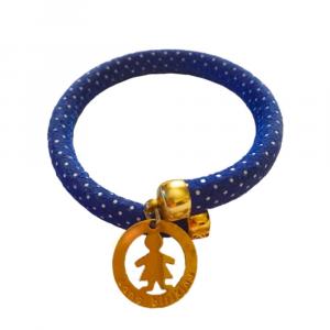 Bracciale Flex design schiava a pois blu in pelle con ciondolo sono Birikina