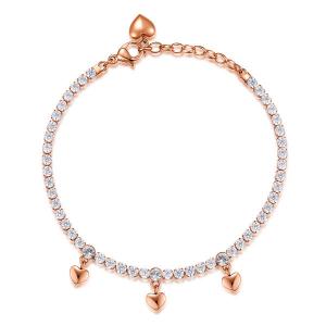 Bracciale DESIDERI della Brosway in acciaio, pvd oro rosa, cuori, zirconi white e cristalli crystal