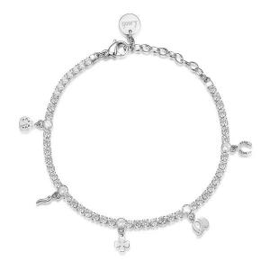 Bracciale DESIDERI della Brosway in acciaio, pendenti porta fortuna, zirconi white e cristalli crystal